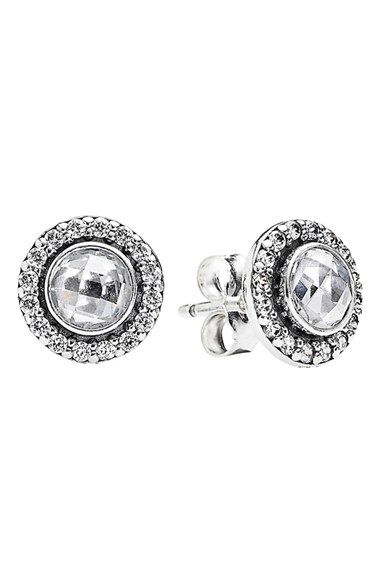 158fe3494 PANDORA 'Brilliant Legacy' Round Stud Earrings available at #Nordstrom