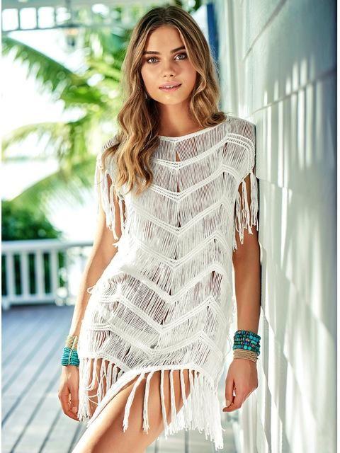 43928cd43c Cover ups Bikini Pareo Beach Dress Bathing Suit Swimwear Up Women Tunic 2018  Ladies Beachwear Dresses Pareos Hollow Knit Skirt Sexy KO 13 1