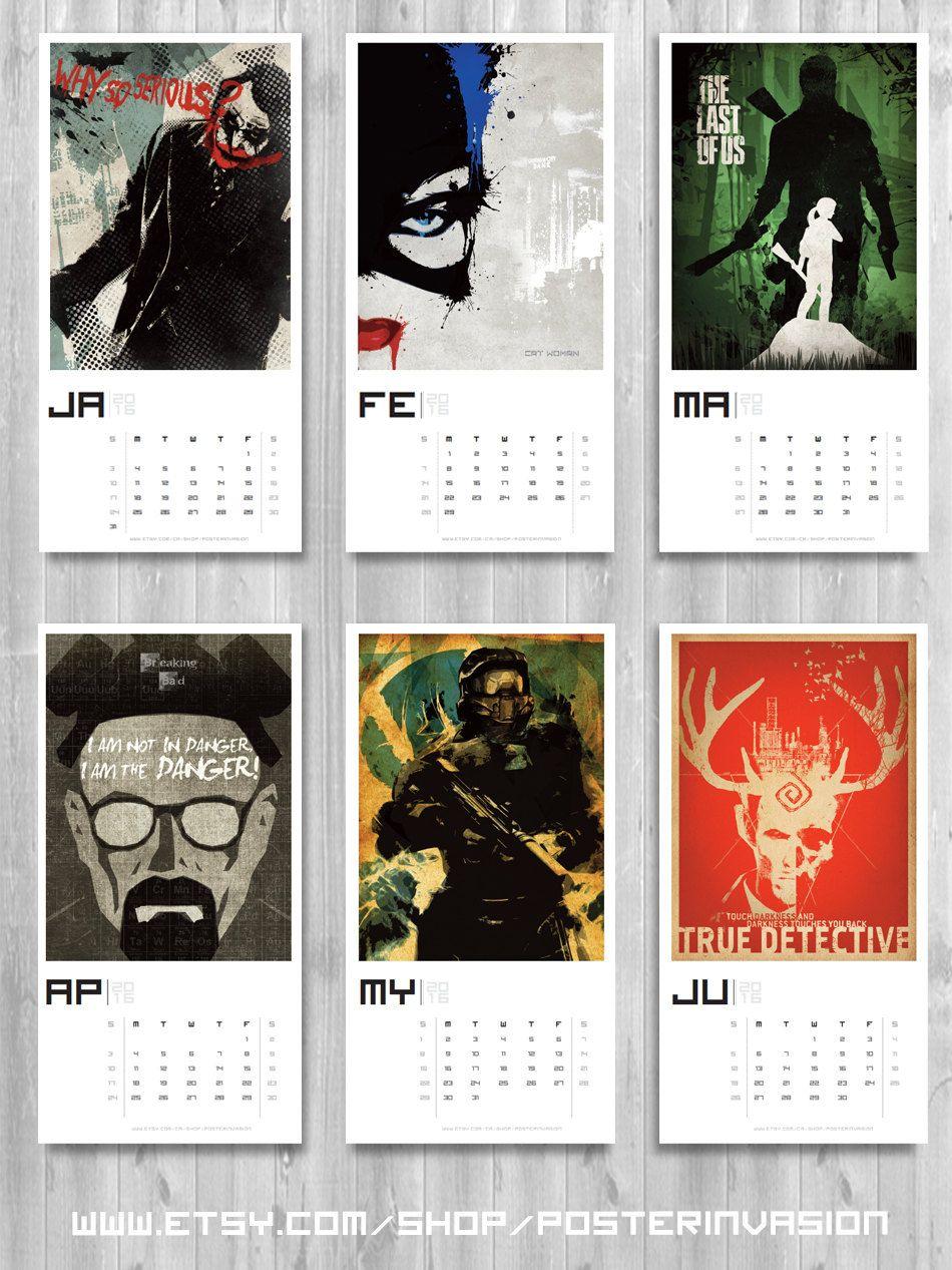 GEEK CALENDAR 2016 Movie calendar Wall Art Calendar Video game calendar  Gift for Wall paper posters Office & Home Decor (40.00 CAD) by  PosterInvasion