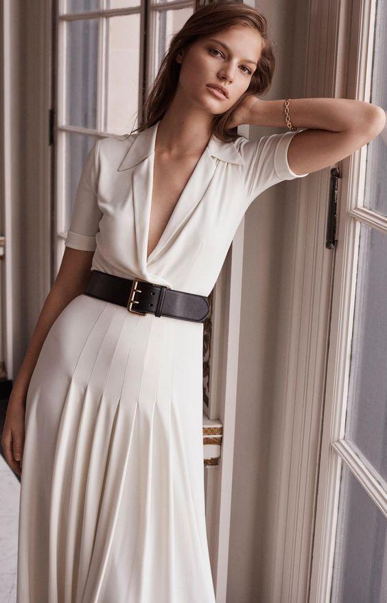 Ralph Lauren V-Neck Pleated Dress | Clothia
