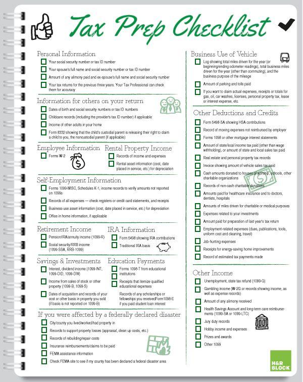 Handy, Printable Tax Prep Checklist | Block Talk - The H&R ...