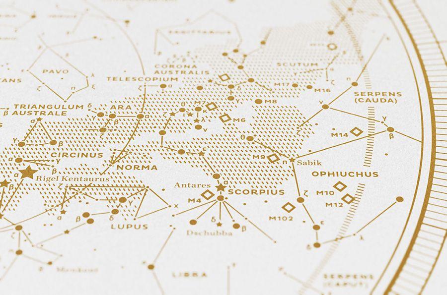 MAP II – THE SOUTHERN SKY, Silkscreen Print (Gold / White)