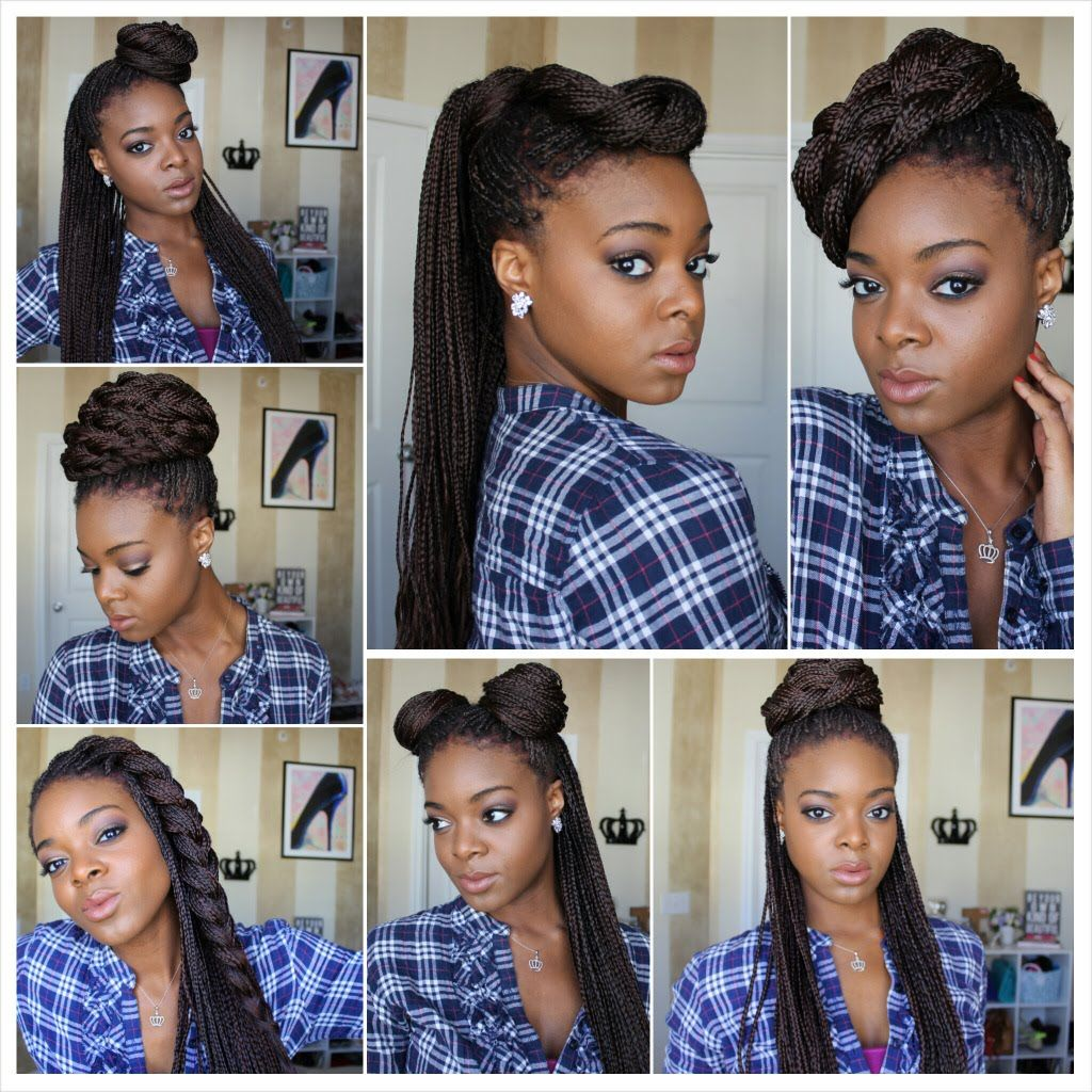 Styling Box Braids 7 Ways Video Black Hair Information Community Micro Braids Hairstyles Box Braids Styling Natural Hair Styles