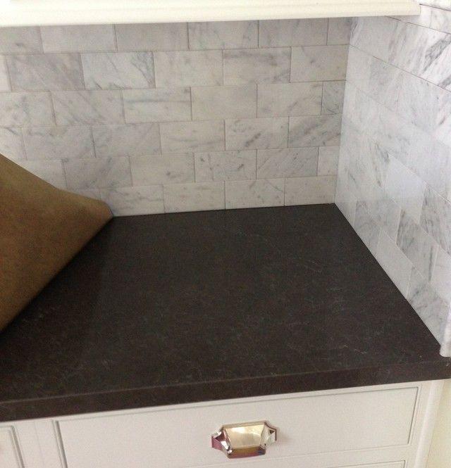 Gray Granite Countertop Kitchen: Piatra Grey With Marble Backsplash - GardenWeb