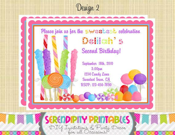 candyland invitation use for birthday baby shower birth announcement