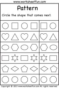 Pattern Circle The Shape That Comes Next 2 Worksheets Free