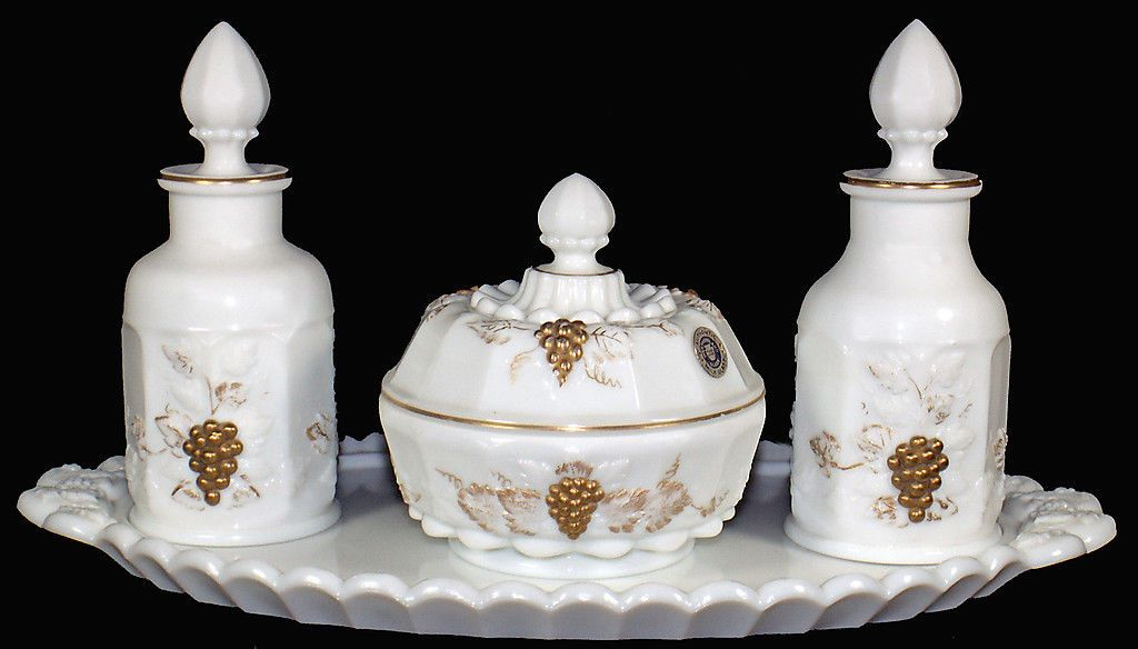 Westmoreland Milk Glass w HP Gold Decoration Paneled Grape Pattern Dresser Set | eBay