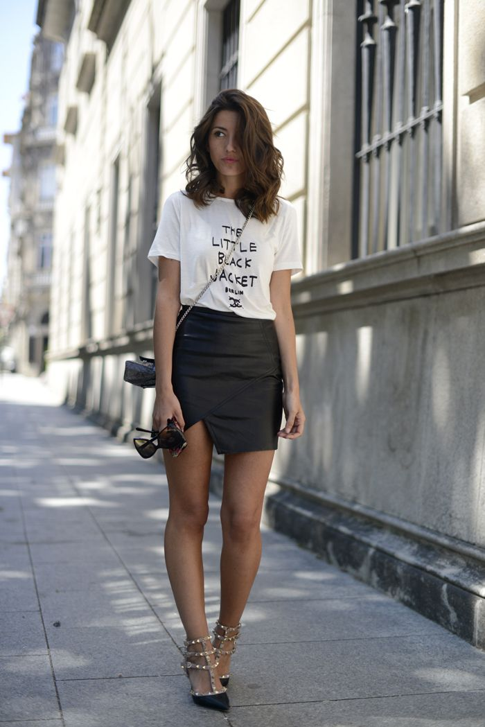 c49de515f597 Tshirt leather skirt | Outfit ideas in 2019 | Fashion, Outfits, Style