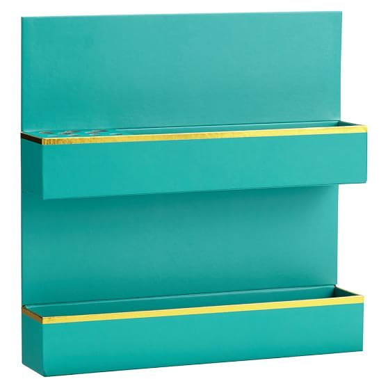 Paper Wall Beauty Organizer Aqua With Gold Trim Beauty