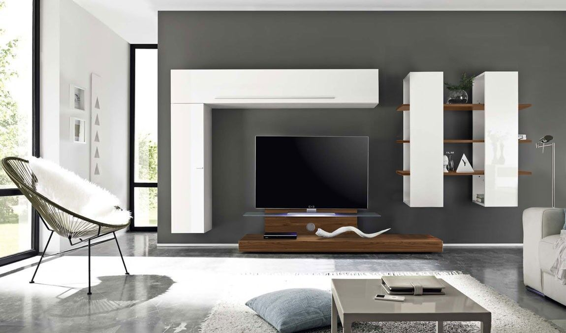 Photo of Wall unit with TV base, glossy lacquered white and Dark Walnut, run to see …