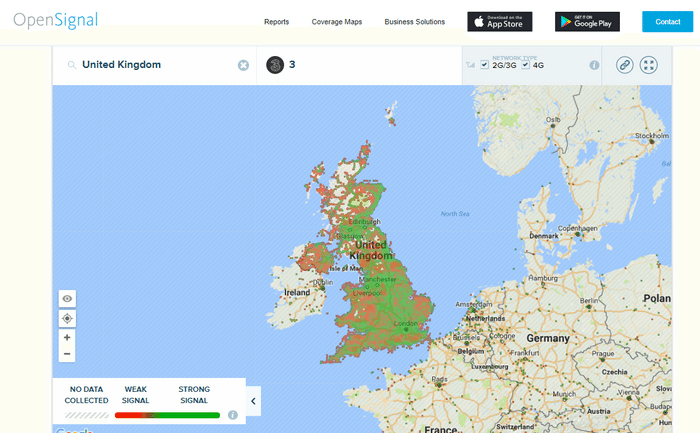 EE coverage map gives you the idea where signal gets weaker