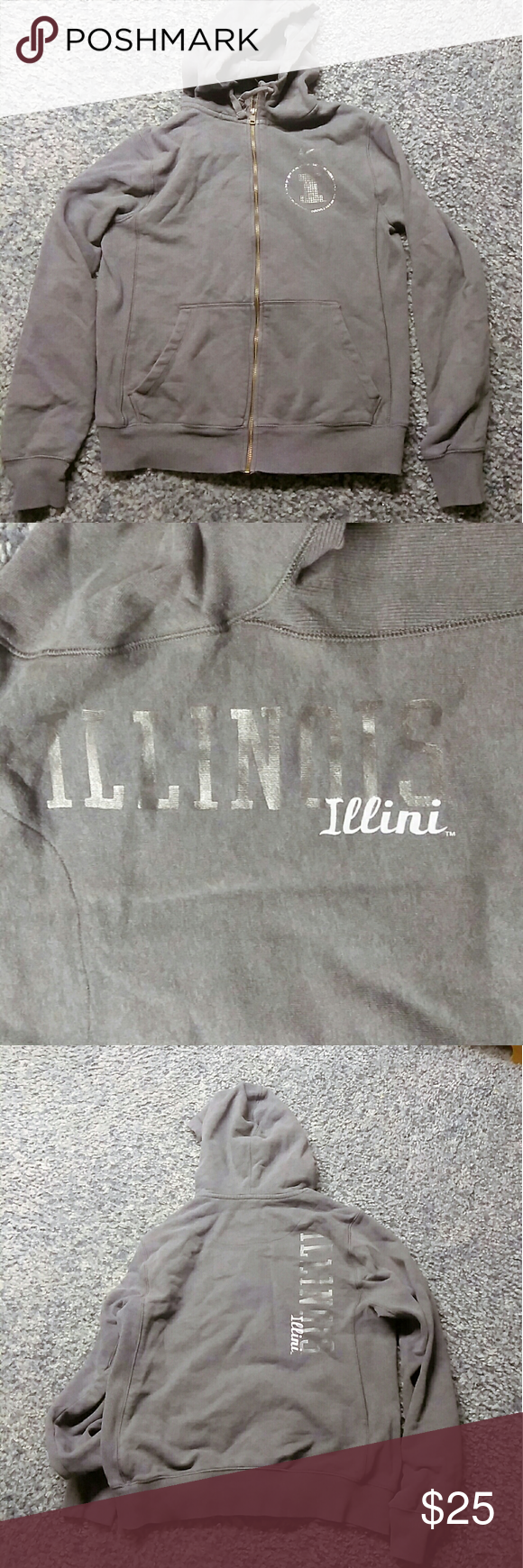Nike Illini Illinois Large Hoodie Sweatshirt Gray Good Used Hoodie Missing A Couple Blings On Circle Still Lo Grey Sweatshirt Sweatshirts Hoodie Clothes Design [ 1740 x 580 Pixel ]