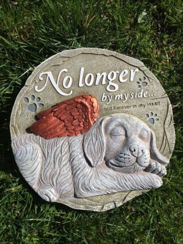 Dog Memorial Garden Statue Stone Outdoor Plaque Grave