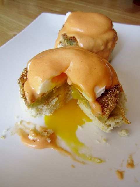 Fried Green Tomato Benedict on Buttermilk Biscuits with Buffalo Hollandaise