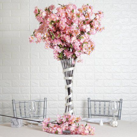 Efavormart 10 Pack 40 Tall Silk Artificial Flowers Cherry Blossoms Bushes Wedding Floral Arrangements Walmart Com Cherry Blossom Centerpiece Artificial Cherry Blossom Tree Artificial Flowers