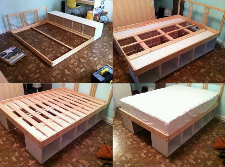 Diy Solution Turn Two Sturdy Bookshelves On Their Sides And Use Them As Legs Then Build The Bed Frame On Top Of Them Diy Storage Bed Diy Bed Bedroom Diy