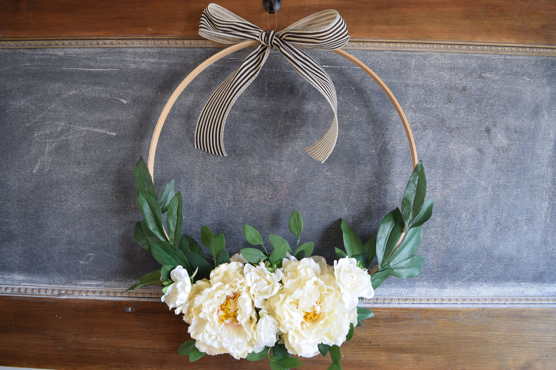 Photo of Jumbo Hoop wreath, peony hoop wreath, large hoop wreath