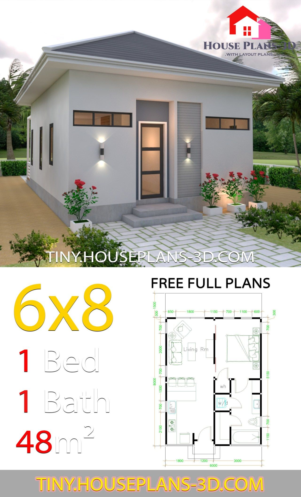Studio House Plans 6x8 Hip Roof Tiny House Plans Tiny House Plans My House Plans House Plans