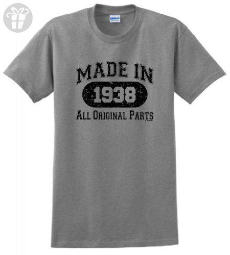 Made 1938 All Original Birthday Distressed T Shirt XL Sport Grey