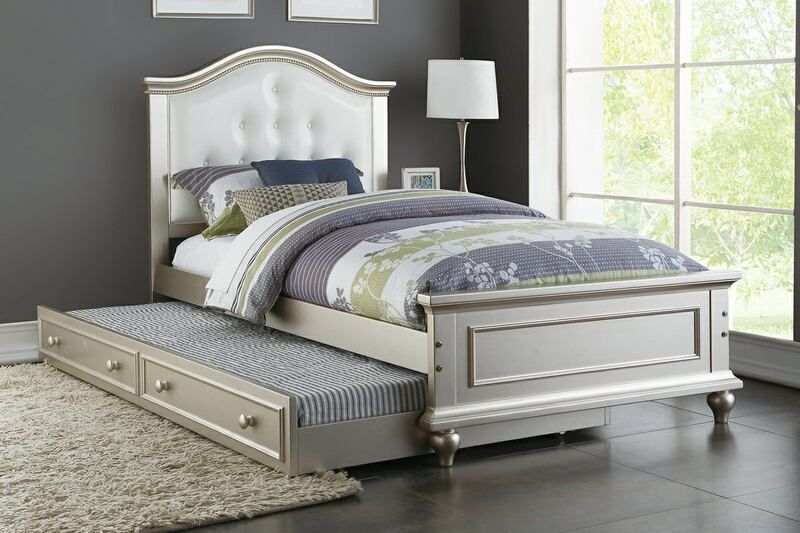 Poundex F9378 2 pc Trista collection silver finish wood twin