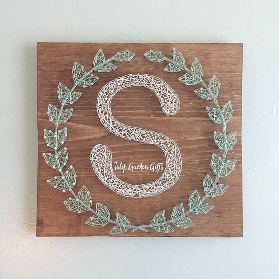 Laurel Wreath Monogram String Art, String Art Letter, String Art Monogram Sign, Wreath String Art, L - #Art #Laurel #Letter #Monogram #Sign #String #wreath #stringart