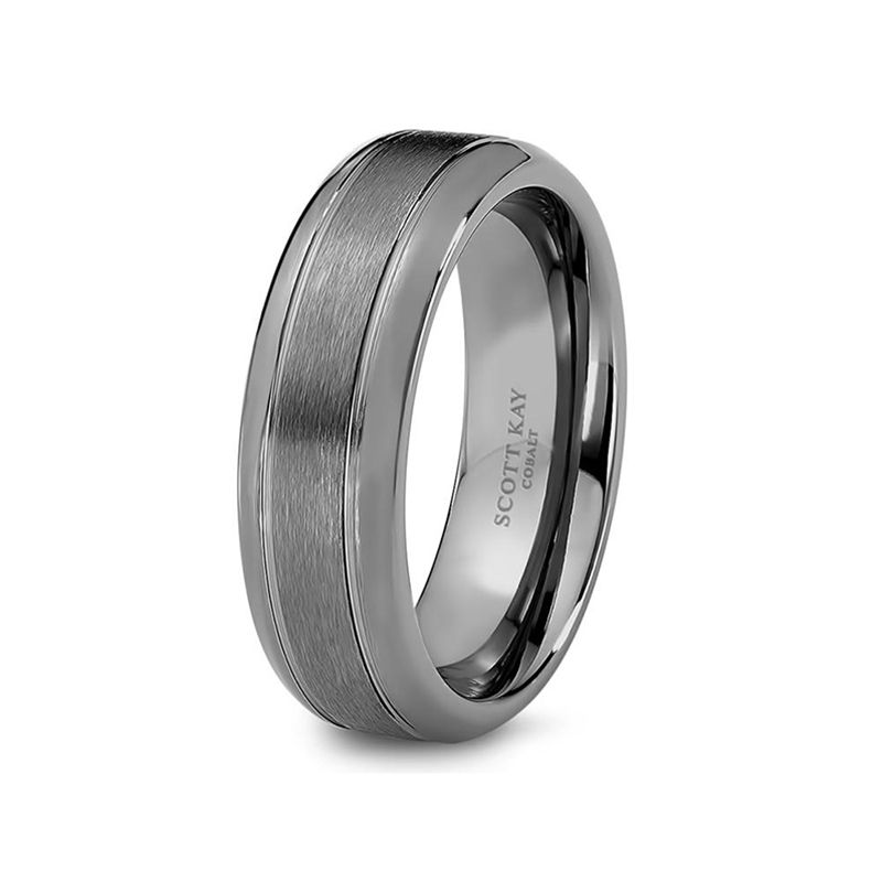 Grey Cobalt Brushed Center Wedding Band For Men From The Prime Collection By Scott Kay 7 Mm Mens Wedding Rings Mens Wedding Bands Cobalt Wedding Band