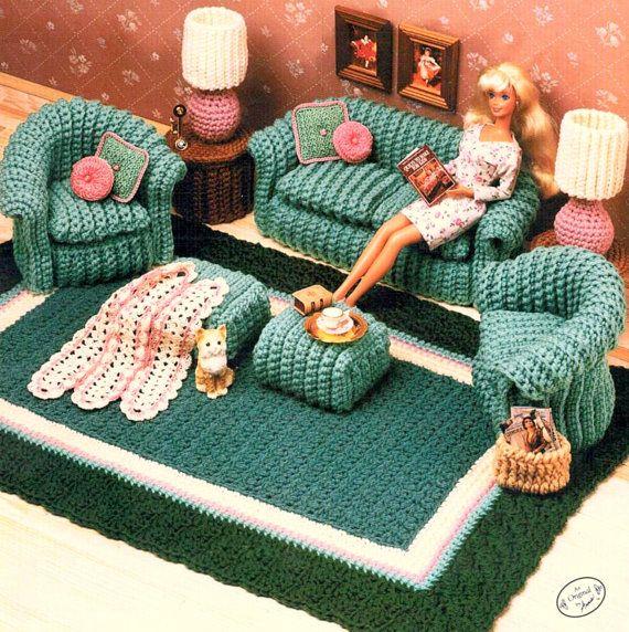Vintage Crochet Pattern PDF  Fashion Doll Home Decor  House Furniture Living Room Chair Sofa Rug Lamp