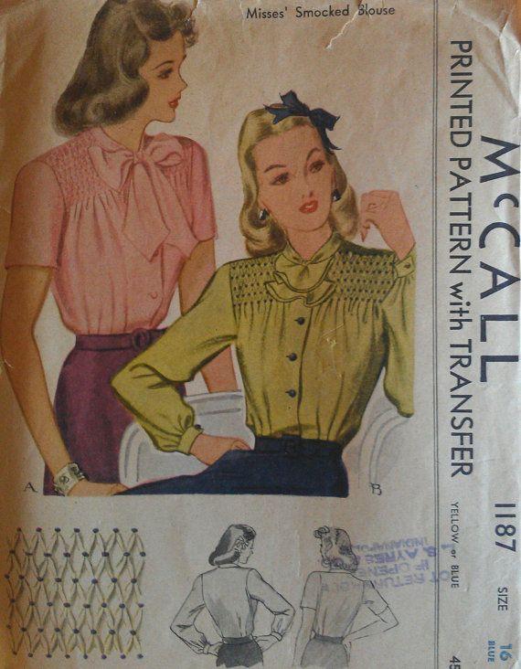 Vintage 50s Sexy Secretary Smocking Smocked Button Front Blouse w ...