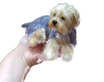 Yorkshire Terrier mascota personalizado aguja retrato por FeltDoggy