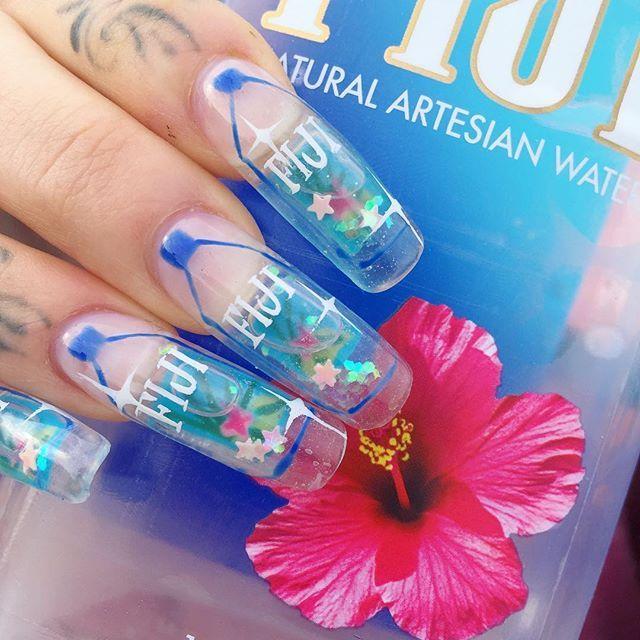 Fiji Aquarium Nailz Water Nails Aquarium Nails Short Square Nails