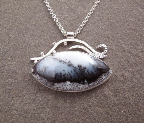 Dendritic Opal Gemstone Sterling Silver Necklace by bluepiranha #magicalcollection #gemstone #Opal #dendritic #jewelrygemsrone