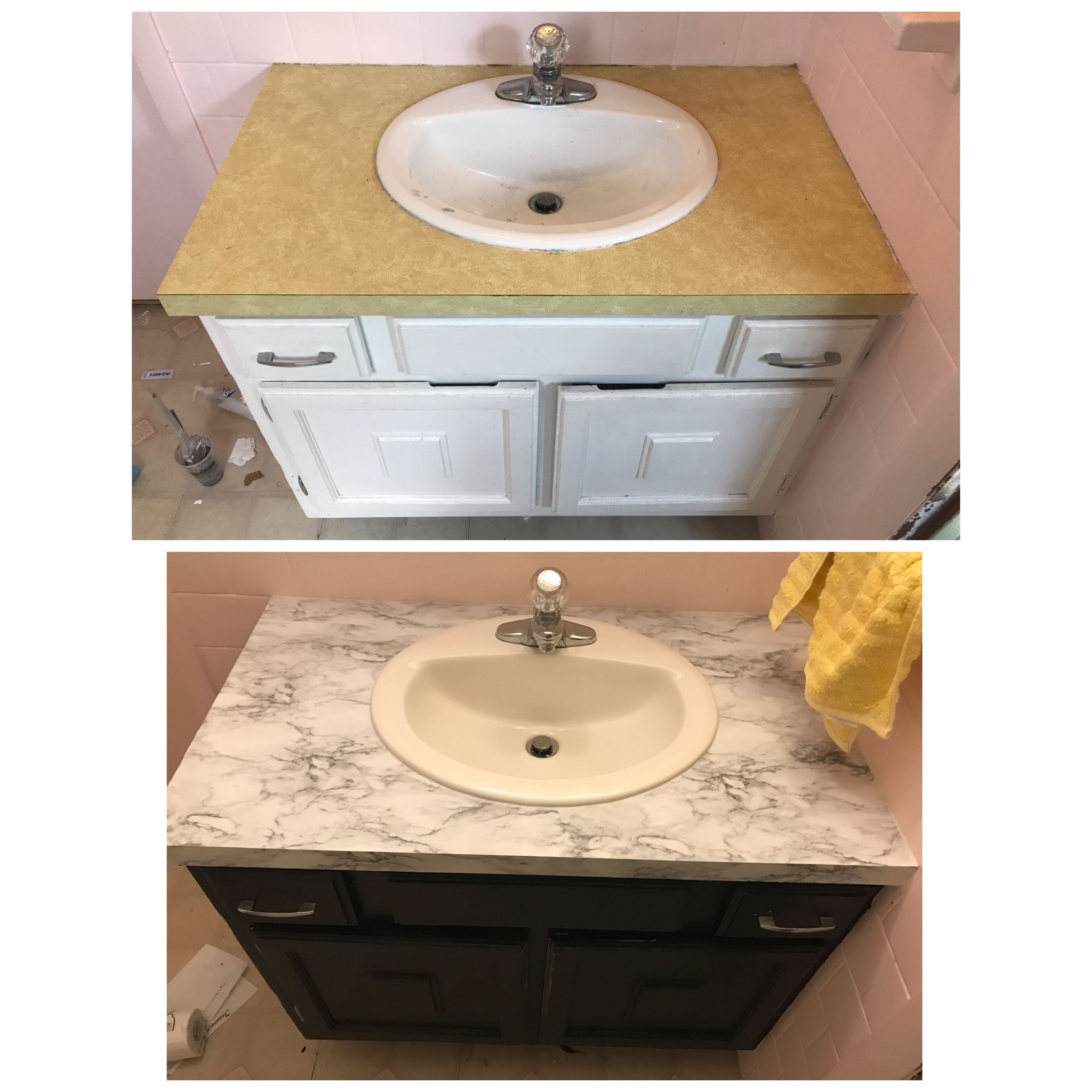 The Easiest Cheap Counter Top Fix Diy New Countertop With Contact Paper From Walmart And Black Paint Cheap Countertops Countertops Inexpensive Countertops