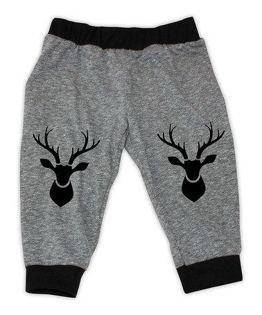 Heather Gray & Black Deer Knee-Patch Harem Pants - Infant #zulily #zulilyfinds