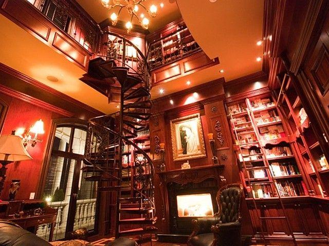 Library in $27,000,000 home, L'île BizardSainte Geneviève