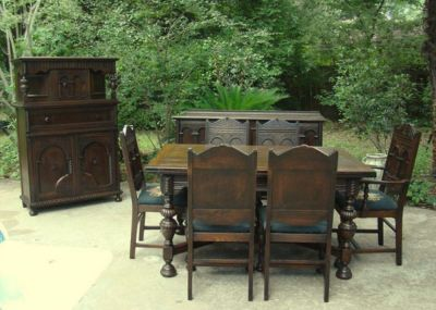 Jacobean Carved Dining 1900 | VINTAGE CARVED OAK JACOBEAN 9 PC DINING ROOM  SET C 1920