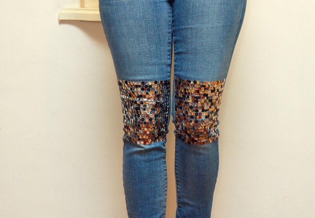 Cool sequin knee pads denim diy denim blog fashion