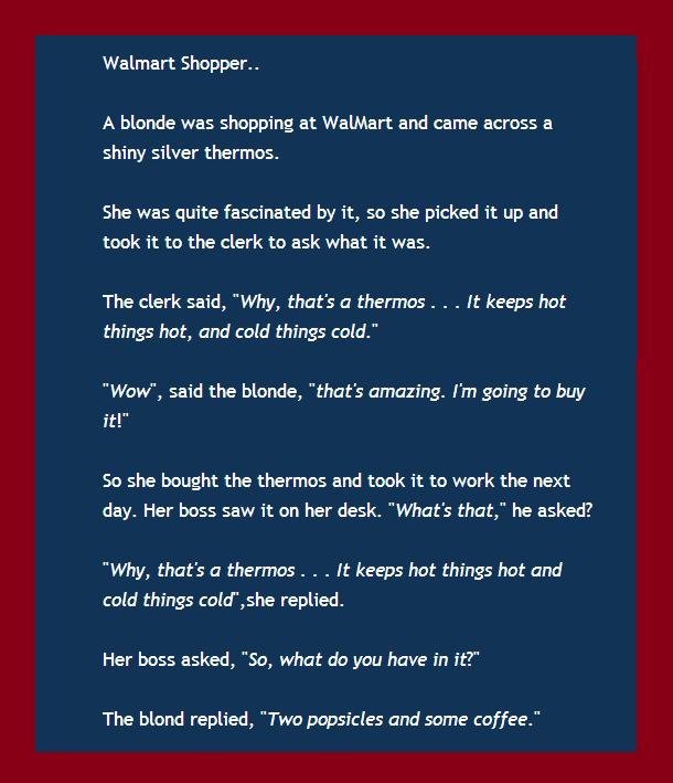 My Way To Fortune Todays Blonde Joke 4 Blonde Jokes Walmart Jokes Best Short Jokes