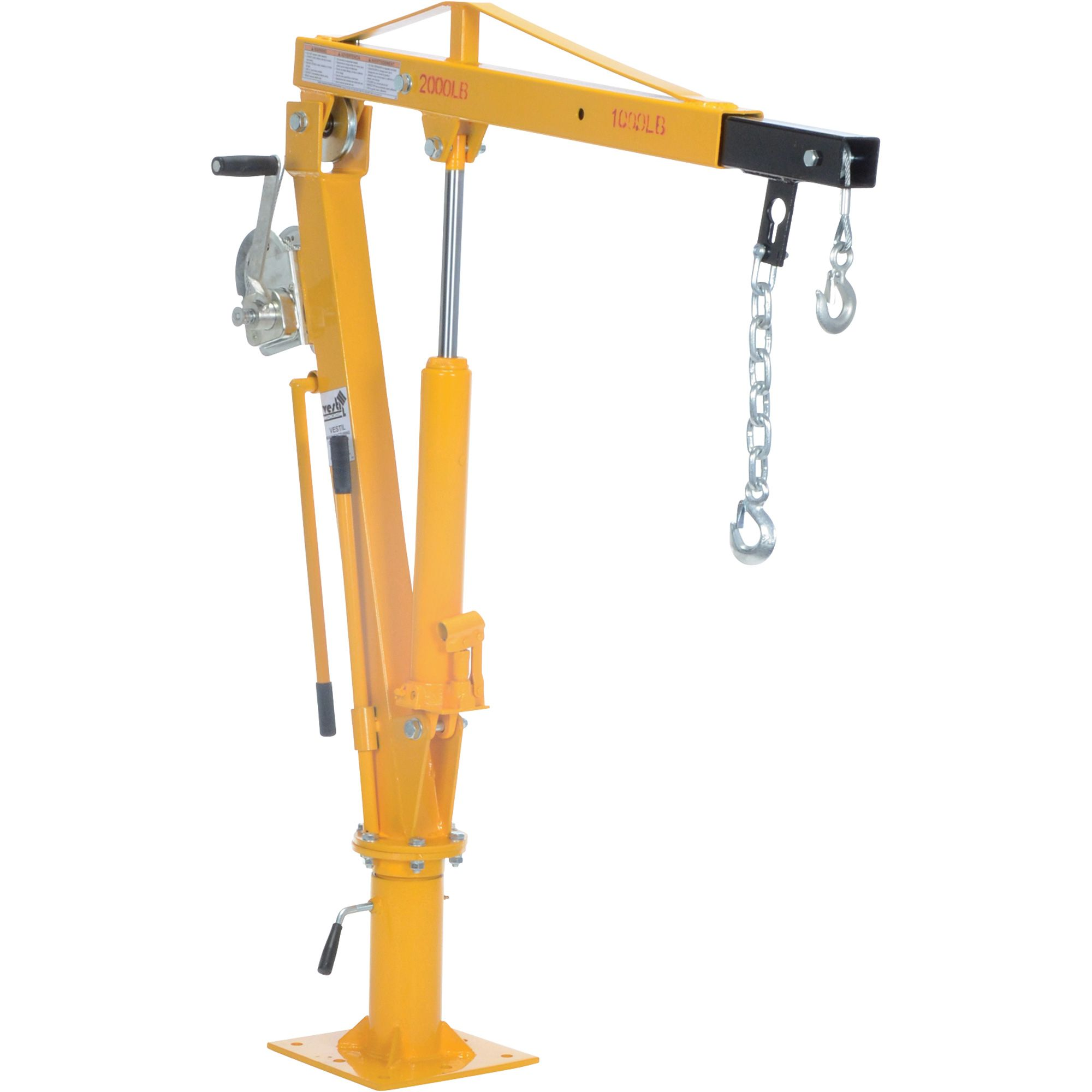 Vestil hydraulic pickup truck jib crane with hand winch 2 000 lb capacity model wtj 4