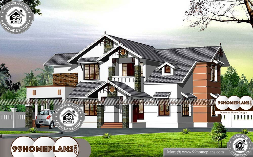 Traditional Modern House With Two Floor Sloping Roof Plan Collections Modern House Latest House Designs Home Design Plans