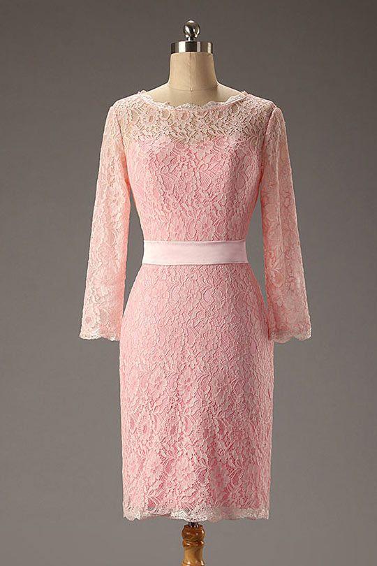 Schlichtes Rosa Etui Linie Natürlich Knielang Abendkleider ...