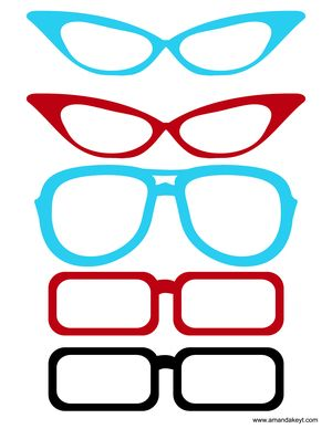 a03d24f9d4cee Glasses From Red   Teal Set Diy Photo Booth Props