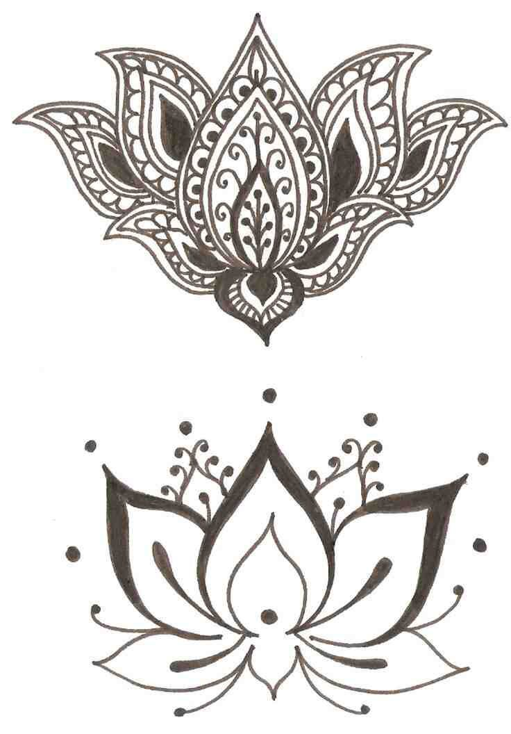 lotus bohemian tattoo design drawings of flowers art pinterest bohemian tattoo tattoo. Black Bedroom Furniture Sets. Home Design Ideas