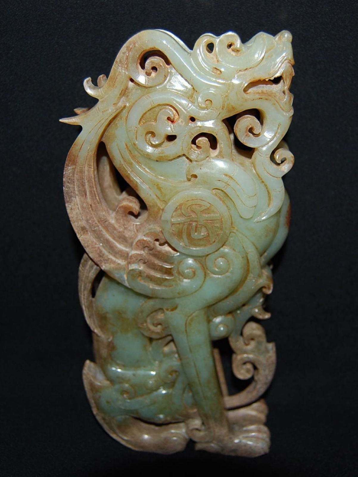 Art Unusual Small Vintage Carved Green Hardstone Deity Figure