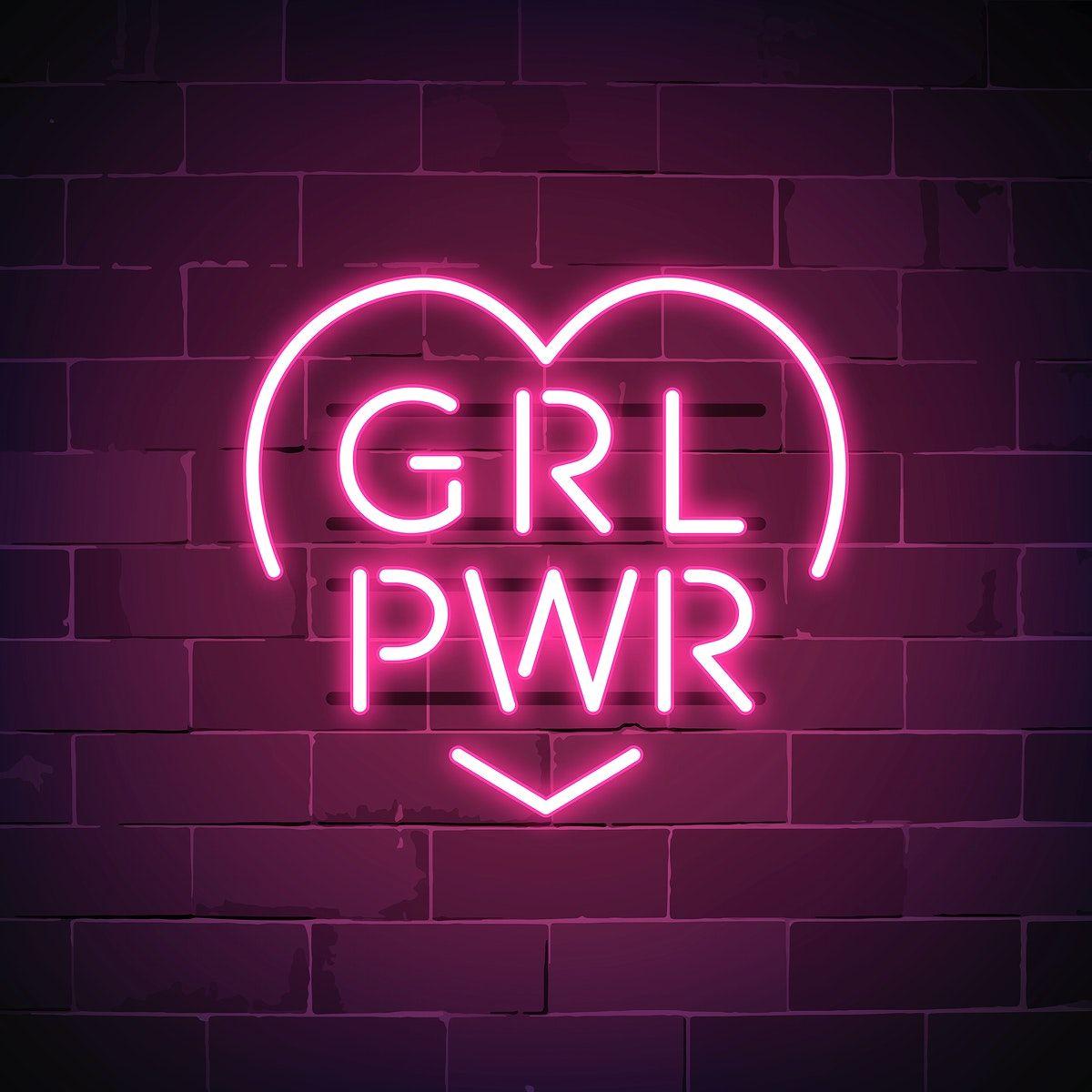 Download free vector of Girl power neon sign vector 537667