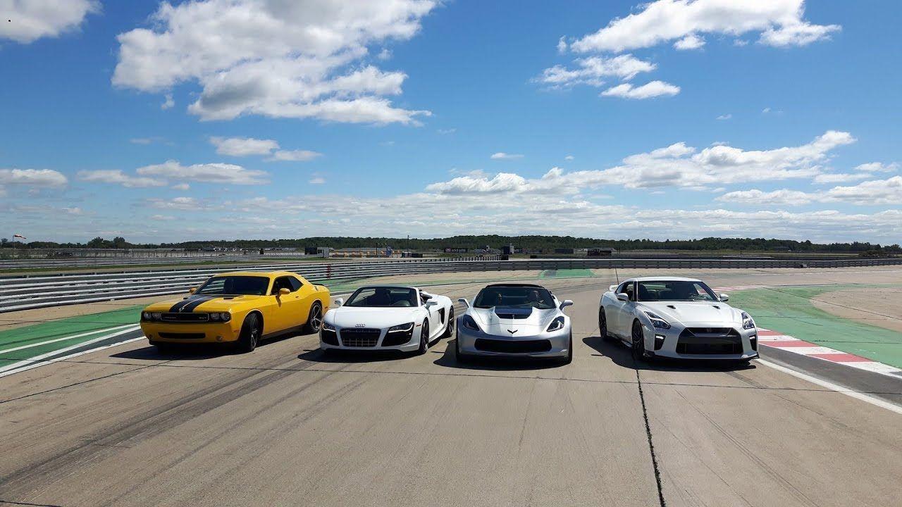 Drag Race Nissan Gtr Vs Corvette Z06 Vs Audi R8 Vs Dodge Challenger Srt8 Youtube Nissan Gtr Dodge Challenger Gtr Nissan