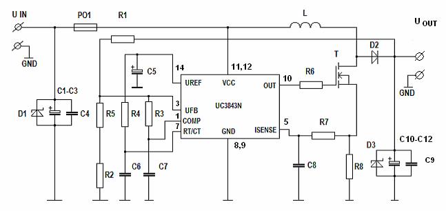 12V To 19V Car DC DC Step Up UC3843D Converter For