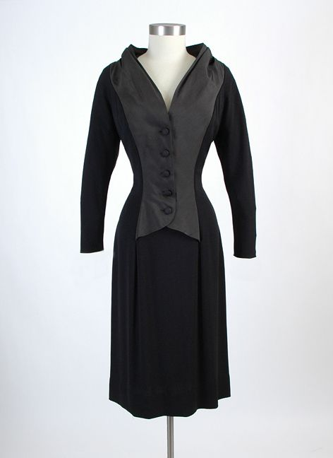 HEMLOCK VINTAGE CLOTHING : 1950's Jacques Fath Black Crepe and Silk Cocktail Dress