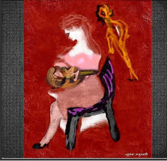 لوحة من اعمال التشكيلية الفلسطينية اية رجب 148