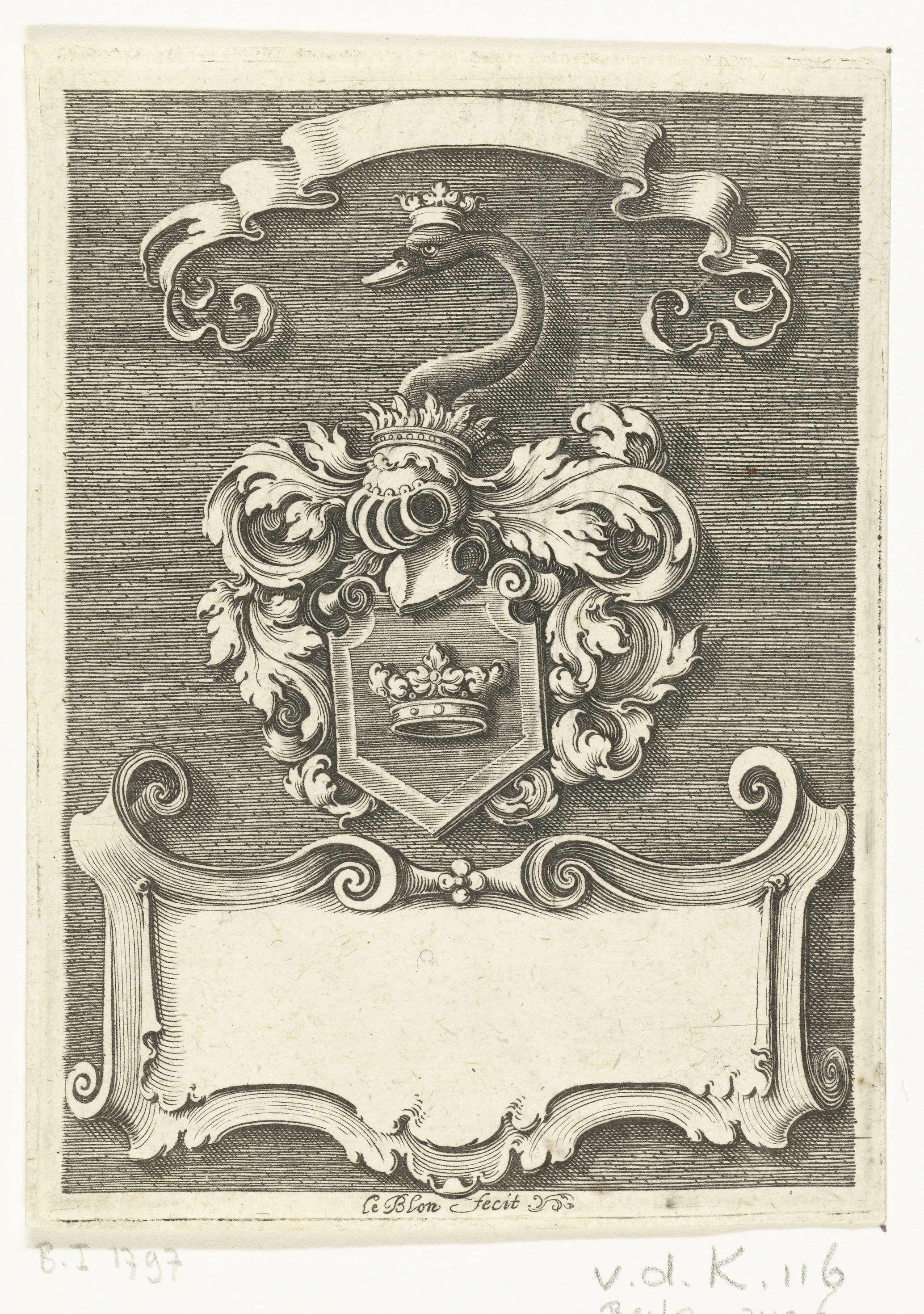 Michiel le Blon | Onbekend wapenschild, Michiel le Blon, c. 1611 - c. 1625 | Bovenaan hangt een banderol en onderaan een cartouche, beide leeg. Op het wapenschild staat een kroon. Uit serie van 20 bladen.
