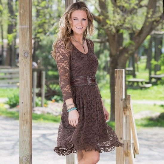 Lucky cowgirl lace dress outfits idea 39 s pinterest for Brown lace wedding dress